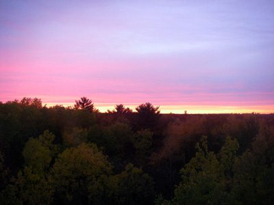 sunset out our window, photo by my daughter, EH