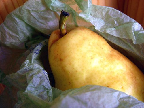 a pear from the gift box I received